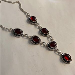 Jewelry - Garnet and Solid sterling silver, necklace